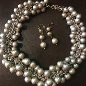 Gray beaded necklace and earrings